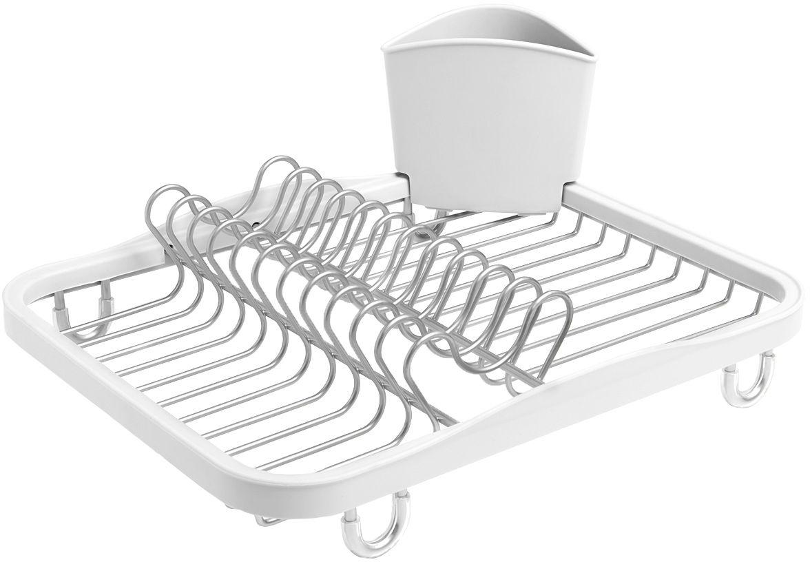 Сушилка для посуды Umbra Sinkin, цвет: белый330065-670Функциональная сушилка Sinkin в новой цветовой вариации. Предусмотрены отсеки для тарелок и чашек. Съемный пластиковый контейнер удобен для сушки столовых приборов. Благодаря специальным ножкам вода стекает в раковину, не застаиваясь под посудой. Пластиковые насадки на ножках оберегают раковину от царапин. Металлическая решетка и пластиковое обрамление легко очищаются от загрязнений. Дизайн: Helen T. Miller