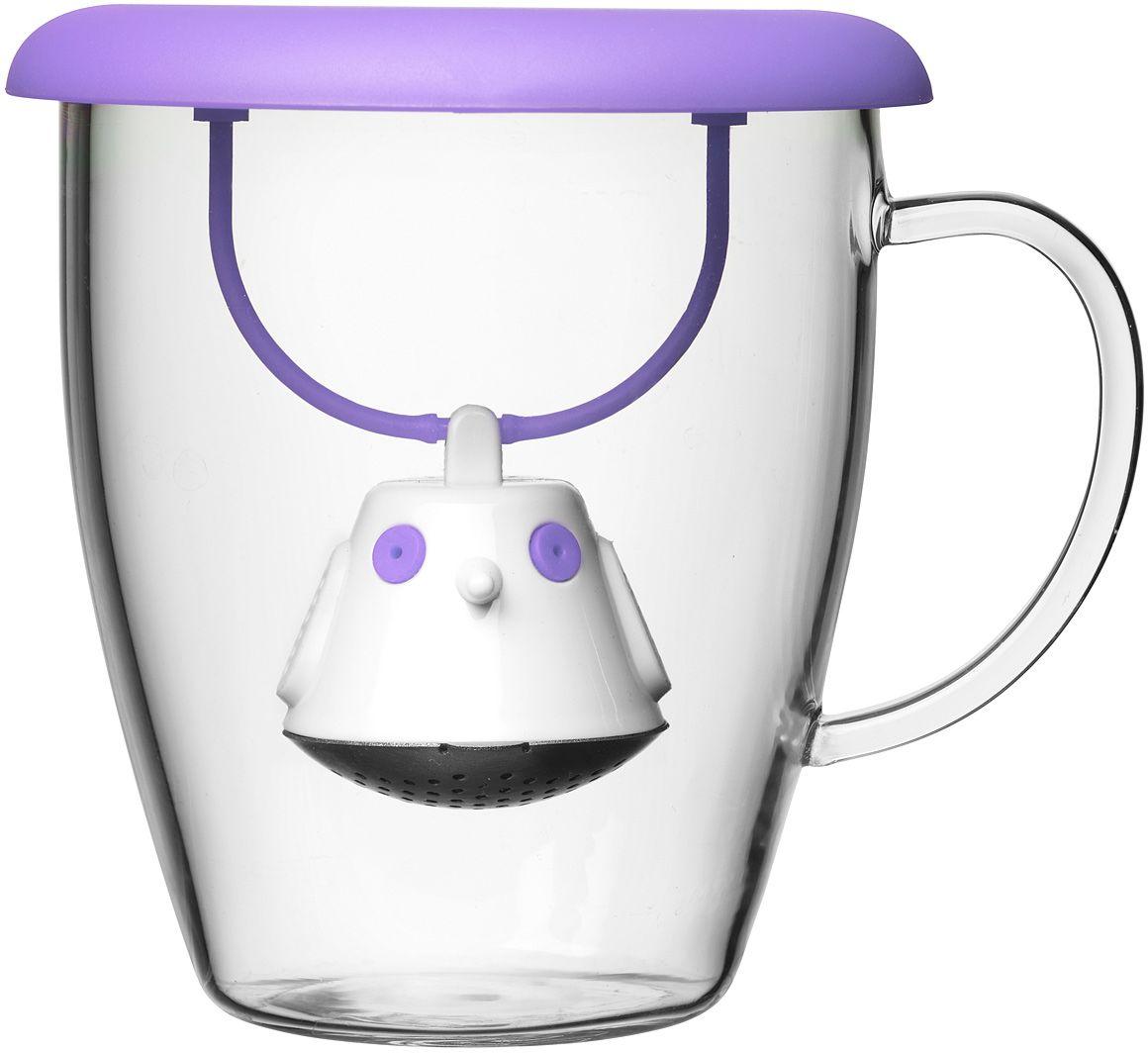 Кружка QDO Birdie Swing Nest, с емкостью для заваривания чая, цвет: фиолетовый567403Кружка с необычной емкостью для заваривания чая в виде птички. Снабжена крышкой для кружки, с помощью которой можно быстро и безопасно приготовить любимый напиток. Одним легким движением откройте стальной фильтр, наполните его необходимым количеством чайных листьев, так же легко закройте и поместите в горячую воду. Крышка не только поможет чаю завариться быстрее, но и убережет ваши пальцы от возможного нагревания. Когда чай готов, просто поднимите крышку, переверните и положите на стол. Вся жидкость с заварника будет стекать в нее, как в поднос - очень удобно. Объем кружки - 400 мл. Материал кружки - жароустойчивое боросиликатное стекло. Материал емкости - нержавеющая сталь и пластик без содержания бисфенола-А. Можно мыть в посудомоечной машине.