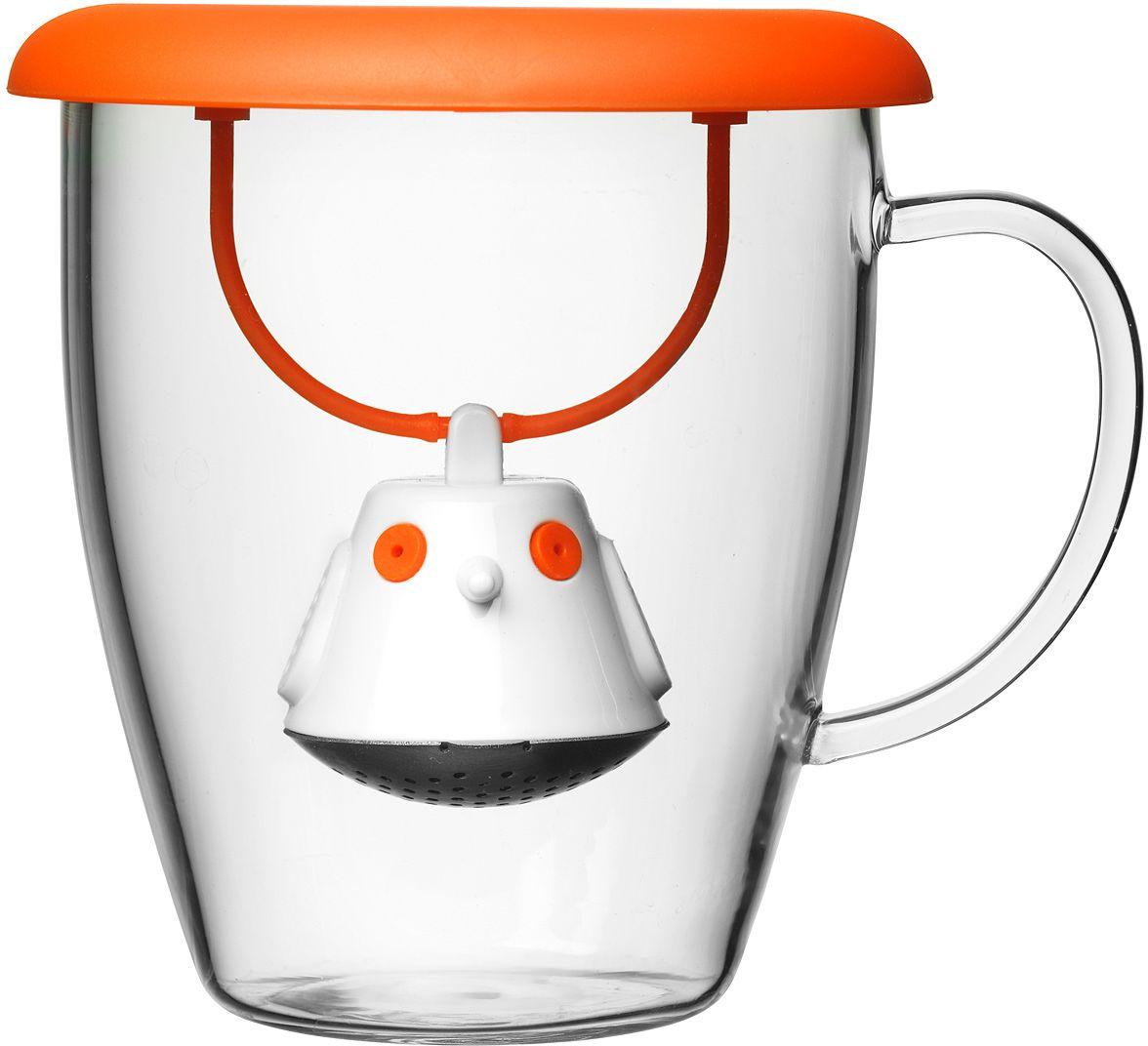 Кружка QDO Birdie Swing Nest, с емкостью для заваривания чая, цвет: оранжевый567404Кружка с необычной емкостью для заваривания чая в виде птички. Снабжена крышкой для кружки, с помощью которой можно быстро и безопасно приготовить любимый напиток. Одним легким движением откройте стальной фильтр, наполните его необходимым количеством чайных листьев, так же легко закройте и поместите в горячую воду. Крышка не только поможет чаю завариться быстрее, но и убережет ваши пальцы от возможного нагревания. Когда чай готов, просто поднимите крышку, переверните и положите на стол. Вся жидкость с заварника будет стекать в нее, как в поднос - очень удобно. Объем кружки - 400 мл. Материал кружки - жароустойчивое боросиликатное стекло. Материал емкости - нержавеющая сталь и пластик без содержания бисфенола-А. Можно мыть в посудомоечной машине.