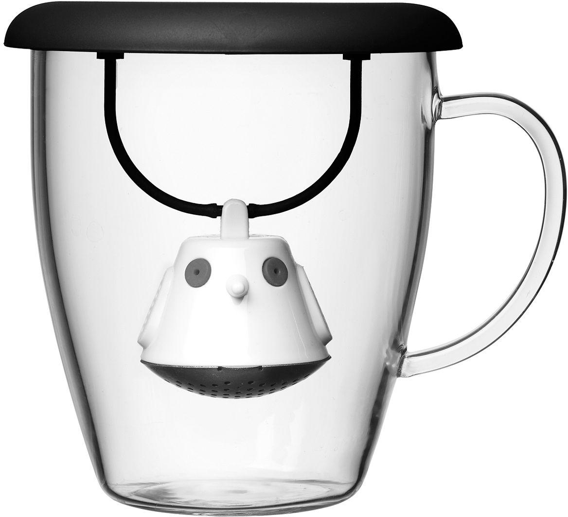 Кружка QDO Birdie Swing Nest, с емкостью для заваривания чая, цвет: черный567501Кружка с необычной емкостью для заваривания чая в виде птички. Снабжена крышкой для кружки, с помощью которой можно быстро и безопасно приготовить любимый напиток. Одним легким движением откройте стальной фильтр, наполните его необходимым количеством чайных листьев, так же легко закройте и поместите в горячую воду. Крышка не только поможет чаю завариться быстрее, но и убережет ваши пальцы от возможного нагревания. Когда чай готов, просто поднимите крышку, переверните и положите на стол. Вся жидкость с заварника будет стекать в нее, как в поднос - очень удобно. Объем кружки - 400 мл. Материал кружки - жароустойчивое боросиликатное стекло. Материал емкости - нержавеющая сталь и пластик без содержания бисфенола-А. Можно мыть в посудомоечной машине.