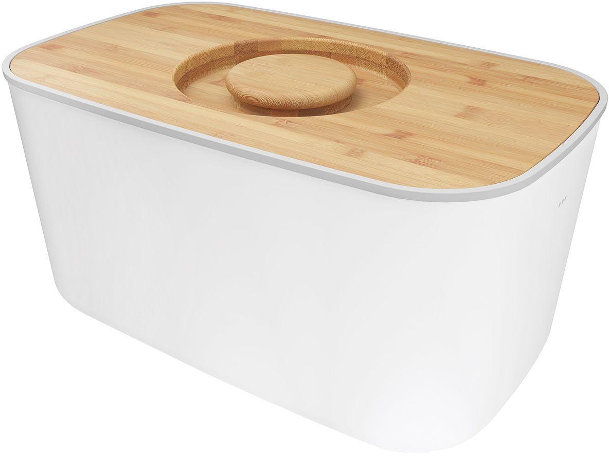 Хлебница Joseph Joseph, с разделочной доской, цвет: белый80044Компактная стальная хлебница с бамбуковой крышкой и нескользящими ножками. Благодаря материалу, из которого изготовлена хлебница, батоны и багеты подолгу остаются свежими и не впитывают посторонние запахи. Кроме того, такую хлебницу очень легко мыть, а сам материал исключает появление трещин и царапин на поверхности изделия. Крышку можно также использовать как доску для резки – эта удобная задумка помогает сэкономить пространство на кухне. Специальные углубления внутри доски не позволят хлебным крошкам высыпаться на рабочую поверхность. Основу можно мыть в посудомоечной машине. Для крышки рекомендовано только ручное мытье и сушка.