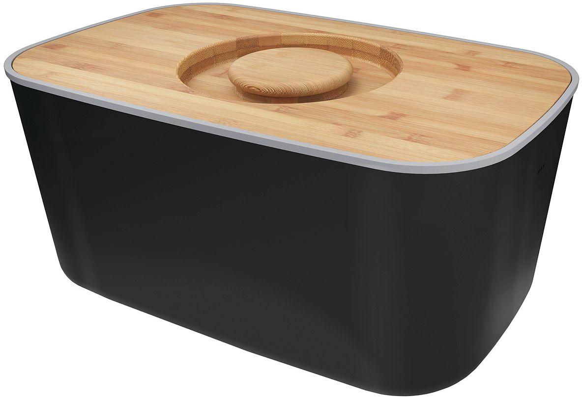Хлебница Joseph Joseph, с разделочной доской, цвет: черный80045Компактная стальная хлебница с бамбуковой крышкой и нескользящими ножками. Благодаря материалу, из которого изготовлена хлебница, батоны и багеты подолгу остаются свежими и не впитывают посторонние запахи. Кроме того, такую хлебницу очень легко мыть, а сам материал исключает появление трещин и царапин на поверхности изделия. Крышку можно также использовать как доску для резки – эта удобная задумка помогает сэкономить пространство на кухне. Специальные углубления внутри доски не позволят хлебным крошкам высыпаться на рабочую поверхность. Основу можно мыть в посудомоечной машине. Для крышки рекомендовано только ручное мытье и сушка.