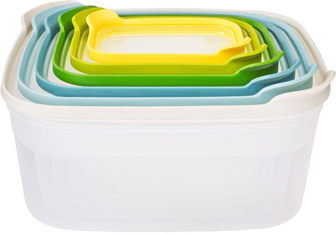 Набор контейнеров для хранения продуктов Joseph Joseph Nest 6. Опал81035Компактный набор из 6 контейнеров для хранения. Бестселлер от Joseph Joseph в новой цветовой гамме. Как известно, обычные ёмкости для хранения продуктов, когда не используются, занимают очень много ценного пространства в кухонном шкафу. Крышки и контейнеры часто теряются или не соответствуют друг другу по размеру. Наборы Nest™ представляют собой удачное решение этой проблемы. Продуманный дизайн позволяет хранить контейнеры, занимая минимум места на полке. Контейнеры Nest™ легко складываются друг в друга и оснащены крышками с цветовой маркировкой для быстрого и удобного поиска. Все составляющие наборов подходят для хранения продуктов в холодильнике и для разогрева обеда в микроволновой печи. Не содержат ВРА (Бисфенол).