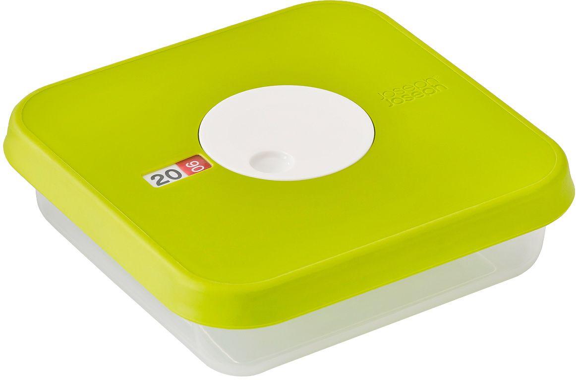 Контейнер для хранения продуктов Joseph Joseph Dial, датируемый, квадратный, 0,9 л81037Квадратный контейнер для хранения продуктов вместимостью 0.9 литров. Идеально подходит для хранения мяса, салатов, фруктов. Инновационная система датировки позволяет контролировать свежесть продуктов, планировать рацион и уменьшать количество отходов. Просто поверните циферблат по часовой стрелке для выставления даты и против часовой даты – для указания месяца. Контейнер не содержит вредный Бисфенол А, благодаря чему его можно безопасно разогревать в микроволновой печи.