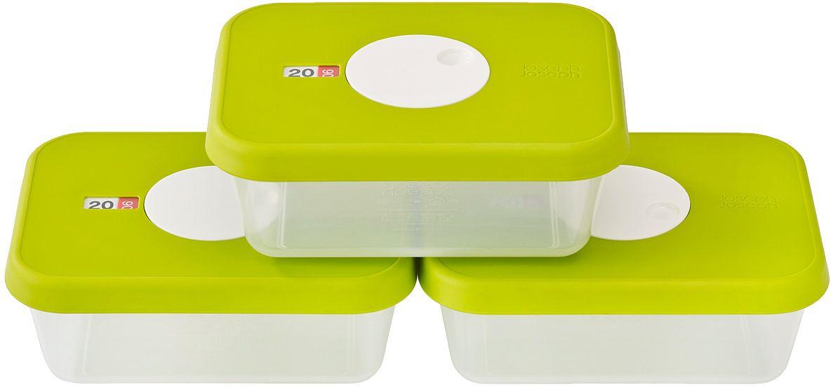 Набор контейнеров для хранения продуктов Joseph Joseph Dial, датируемые, прямоугольные, 3 шт х 1 л81041Набор прямоугольных контейнеров для хранения продуктов. В набор входит 3 емкости, каждая объемом 1 литр. Емкости идеально подходят для хранения мяса, салатов, фруктов и др. Инновационная система датировки позволяет контролировать свежесть продуктов, планировать рацион и уменьшать количество отходов. Просто поверните циферблат по часовой стрелке для выставления даты и против часовой даты – для указания месяца. Контейнеры не содержат вредный Бисфенол А, благодаря чему их можно безопасно разогревать в микроволновой печи.