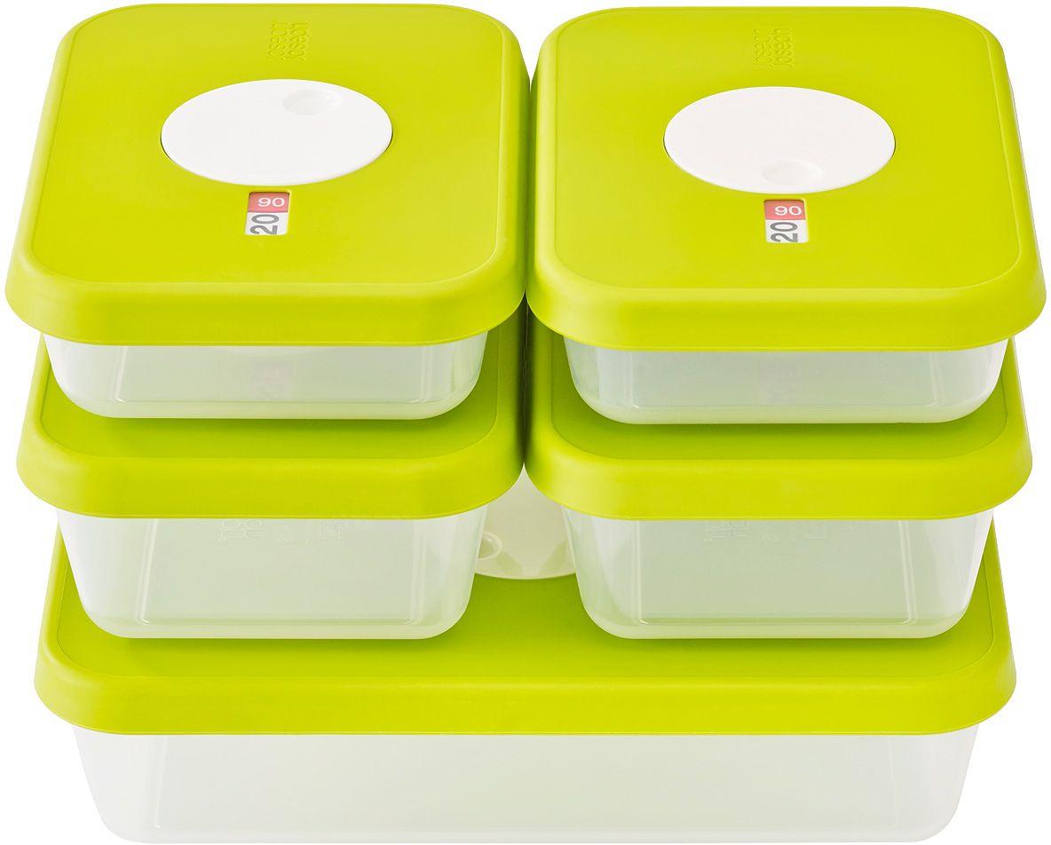 Набор контейнеров для хранения продуктов Joseph Joseph Dial, датируемые, прямоугольные, 5 шт81042Набор из пяти прямоугольных контейнеров для хранения продуктов. В набор входит 2 контейнера объемом 0,7 литра, 2 – объемом 1 литр и 1 контейнер объемом 2,4 литра. Емкости идеально подходят для хранения мяса, салатов, фруктов и так далее. Инновационная система датировки позволяет контролировать свежесть продуктов, планировать рацион и уменьшать количество отходов. Просто поверните циферблат по часовой стрелке для выставления даты и против часовой даты – для указания месяца. Контейнеры не содержат вредный Бисфенол А.