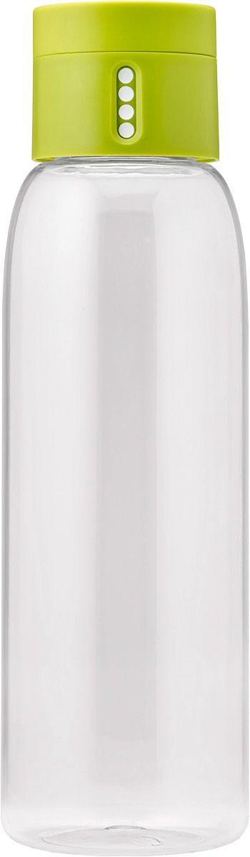 Бутылка для воды Joseph Joseph Dot, 600 мл, цвет: зеленый81049Уникальная бутылка, которая поможет вам контролировать ежедневное потребление воды. Инновационная крышка со счетчиком запомнит каждое наполнение бутылки в течение дня. Просто закрутите крышку до появления точки, а для питья используйте верхнюю крышку. Новая точка появится каждый раз, когда бутылка заново заполнена и крышка закручена. Из гладкого литого носика бутылки удобно пить, а широкое горлышко идеально для насыпания льда и мытья. Герметичная крышка надежно защитит содержимое от вытекания. Бутылка изготовлена из экологичного и удапрочного материала Tritan. Объем - 600 мл.