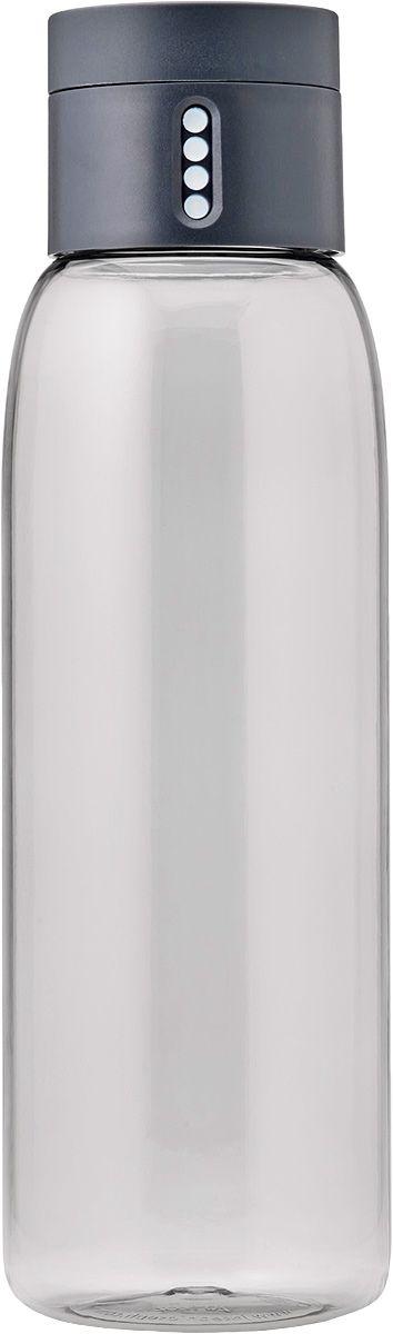 Бутылка для воды Joseph Joseph Dot, 600 мл, цвет: серый81053Уникальная бутылка, которая поможет вам контролировать ежедневное потребление воды. Инновационная крышка со счетчиком запомнит каждое наполнение бутылки в течение дня. Просто закрутите крышку до появления точки, а для питья используйте верхнюю крышку. Новая точка появится каждый раз, когда бутылка заново заполнена и крышка закручена. Из гладкого литого носика бутылки удобно пить, а широкое горлышко идеально для насыпания льда и мытья. Герметичная крышка надежно защитит содержимое от вытекания. Бутылка изготовлена из экологичного и удапрочного материала Tritan. Объем - 600 мл.