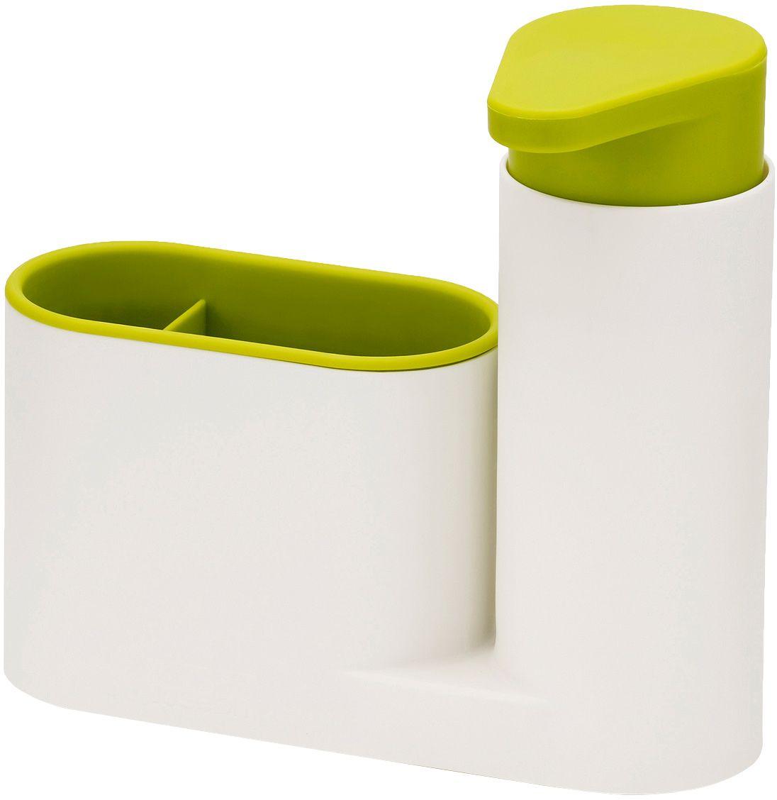 Органайзер для раковины Joseph Joseph SinkBase, с дозатором для мыла, цвет: белый, зеленый85081Функциональный набор для организации пространства на кухонной раковине. Набор состоит из удобного дозатора для жидкого мыла и подставки с двумя отделениями для щеток и губок. Благодаря компактному дизайну органайзер может быть размещен даже на узкой стороне раковины. Рекомендуется мыть только вручную.