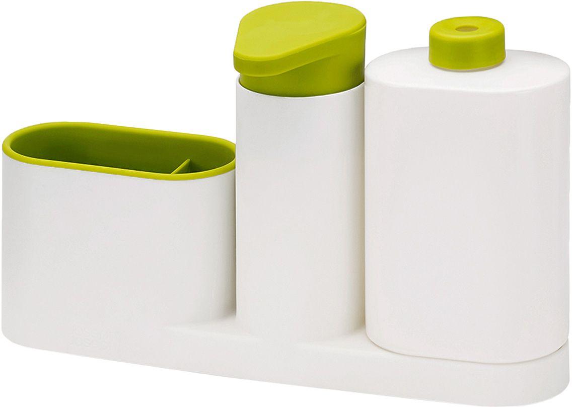 Органайзер для раковины Joseph Joseph SinkBase Plus, с дозатором для мыла и бутылочкой, цвет: белый, зеленый85082Функциональный набор для организации пространства на кухонной раковине. Набор состоит из удобного дозатора для жидкого мыла, бутылочки для моющего средства и подставки с двумя отделениями для щеток и губок. Благодаря компактному дизайну органайзер может быть размещен даже на узкой стороне раковины. Дополнен многоразовой бутылочкой для моющего средства. Разбирается для легкой чистки. Мыть рекомендуется только вручную.