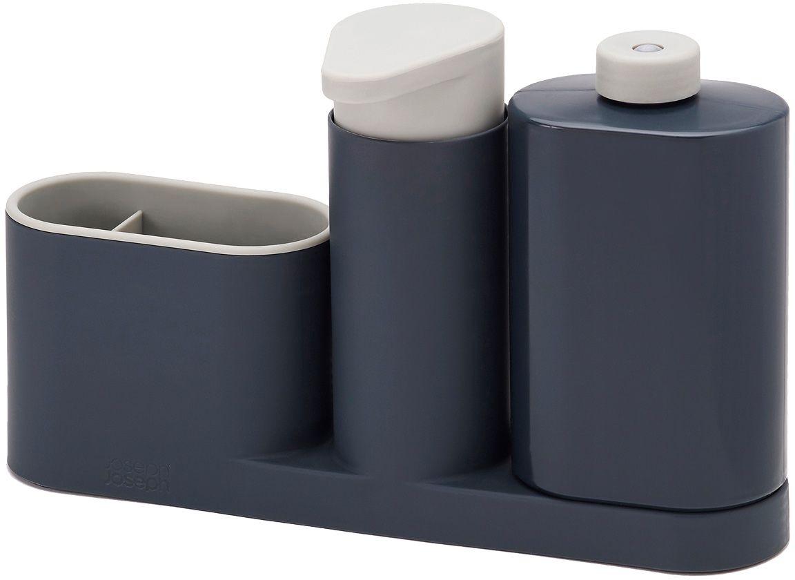 Органайзер для раковины Joseph Joseph SinkBase Plus, с дозатором для мыла и бутылочкой, цвет: серый85091Функциональный набор для организации пространства на кухонной раковине. Набор состоит из удобного дозатора для жидкого мыла, бутылочки для моющего средства и подставки с двумя отделениями для щеток и губок. Благодаря компактному дизайну органайзер может быть размещен даже на узкой стороне раковины. Разбирается для легкой чистки. Мыть рекомендуется только вручную.