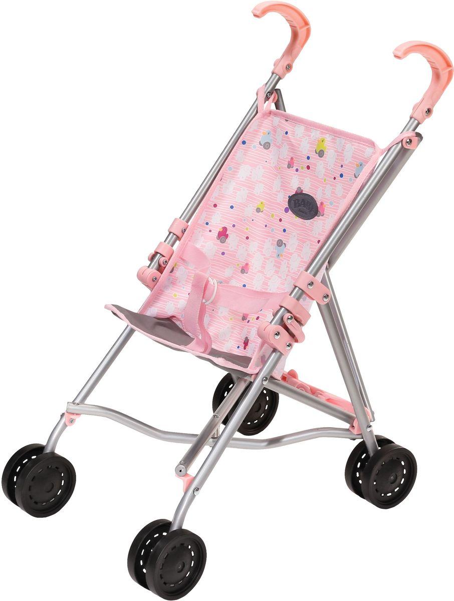 Baby Born Коляска-трость для кукол822-302Облегченная коляска-трость подходит как для куклы My Little Baby Born высотой 32 см, так и для Baby Born высотой 43 см. Коляска имеет современную расцветку сиденья. Ремень безопасности в комплекте.