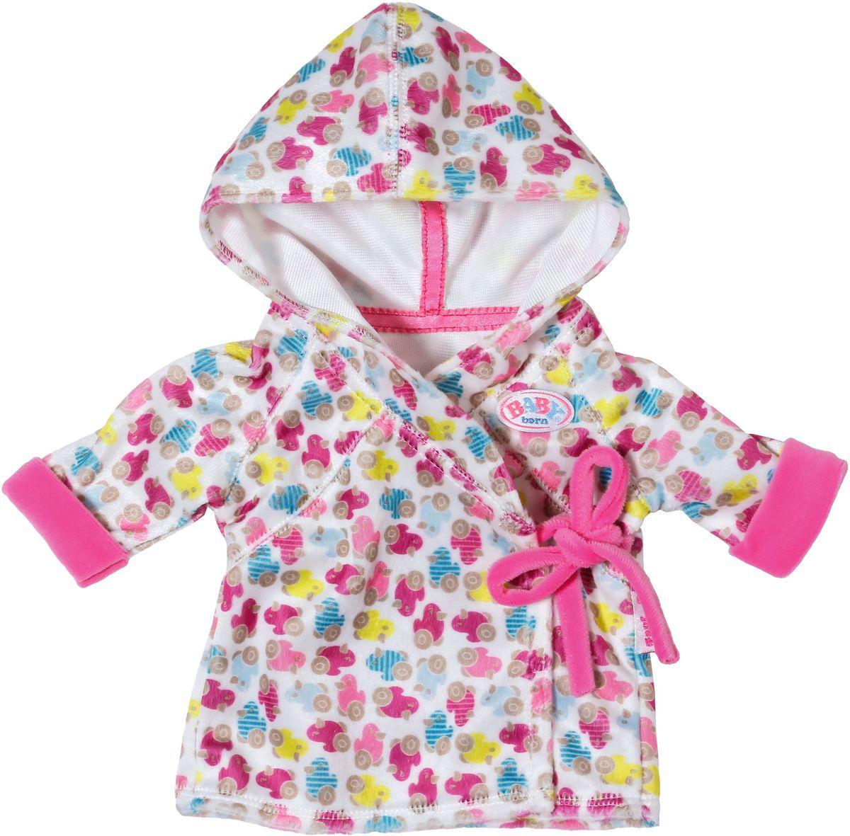 Baby Born Халат с капюшоном для кукол822-463Теплый халатик с капюшоном фирменной расцветки Baby Born. Пусть куколка чувствует себя тепло и уютно после купания.