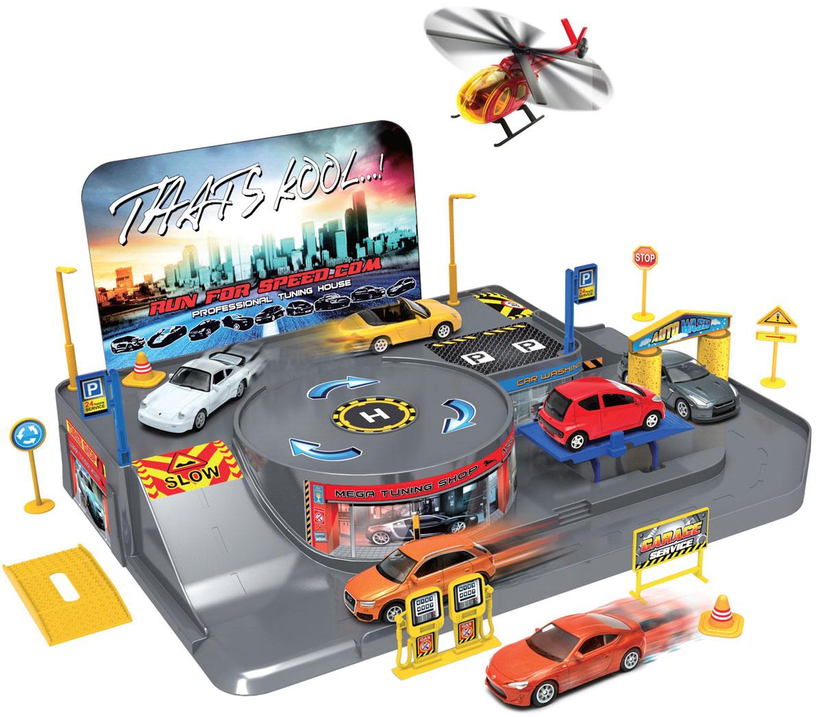 Welly Игровой набор Гараж с 3 машинами и вертолетом 9601096010Игровой набор Welly Гараж включает 3 машины и вертолет.