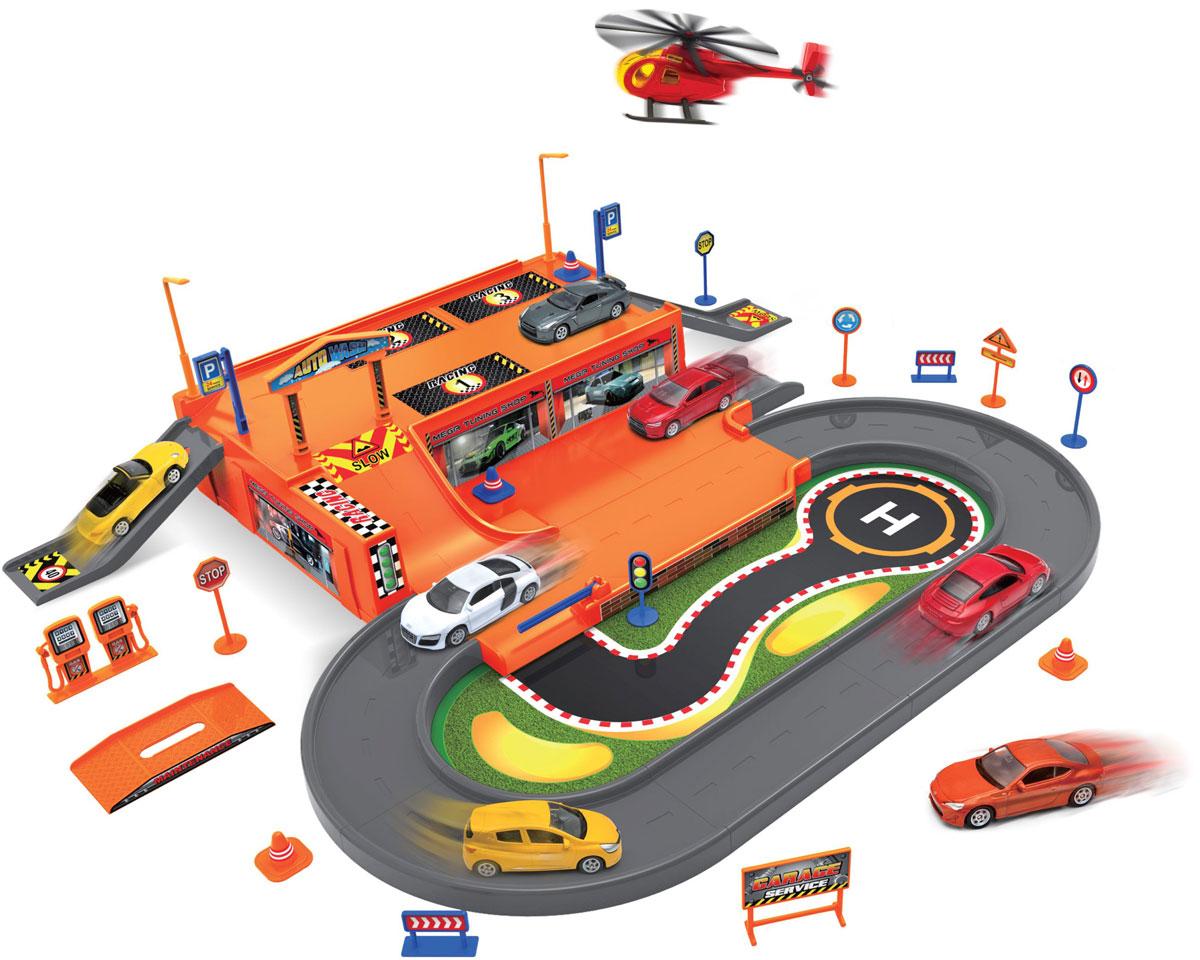 Welly Игровой набор Гараж с 3 машинами и вертолетом 9603096030Игровой набор Welly Гараж включает 3 машины и вертолет.
