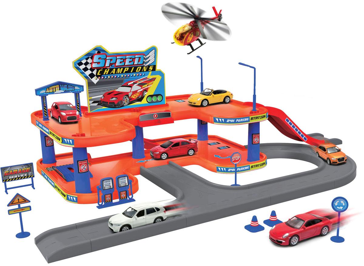 Welly Игровой набор Гараж с 4 машинами и вертолетом96040Игровой набор Welly Гараж включает 4 машины и вертолет.