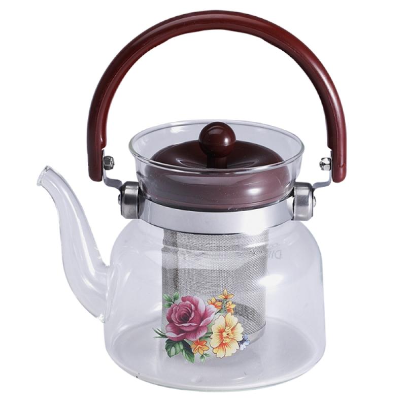 Чайник заварочный Wellberg, стекло, 800 мл6851WB_роза/желтый цветок