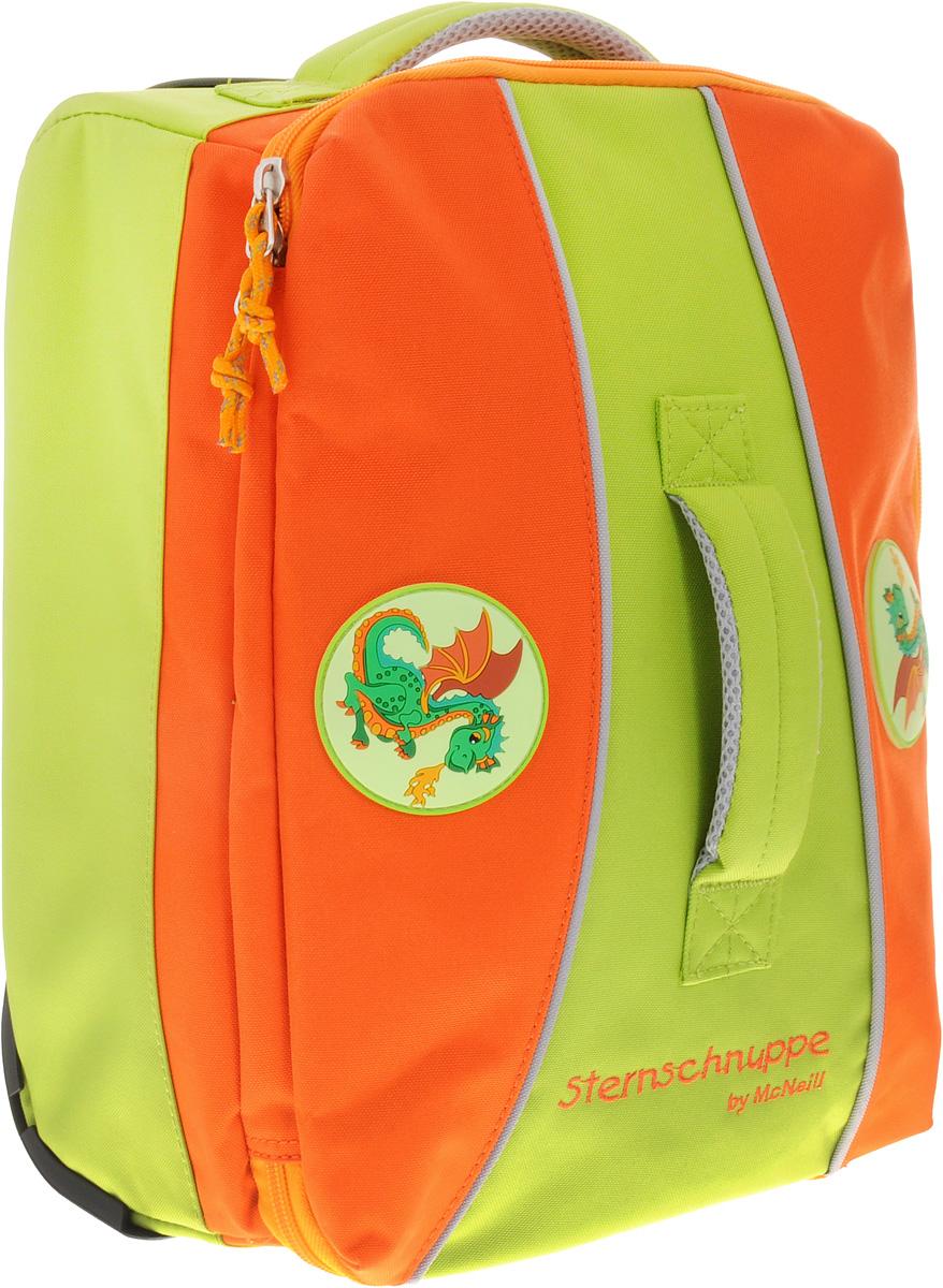 Mc Neill Чемодан детский Дракон7545777000Детский чемодан Mc Neill Дракон с выдвижной ручкой и на колесиках - это стильный и удобный чемодан, который придется по душе вашему малышу. Чемодан изготовлен из плотного материала оранжевого и светло-зеленого цветов и оформлен изображением дракончиков. Чемодан содержит одно вместительное отделение на застежке-молнии с двумя бегунками. Внутри отделения находятся два накладных открытых кармана для небольших принадлежностей и карман-сетка на молнии. Удобная выдвижная ручка и колесики облегчают транспортировку чемодана. Также изделие оснащено двумя текстильными ручками для переноски в руке. Пластиковые ножки защитят дно чемодана от загрязнений и продлят срок его службы.