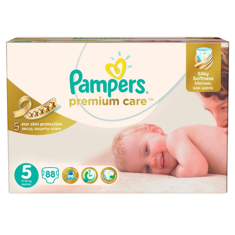 Pampers Premium Care Подгузники 5, 11-25 кг, 88 штPA-814072945 звезд защиты для идеальной кожи малыша! Pampers Premium Care - это лучшие подгузники Pampers, созданные специально для превосходной защиты нежнейшей кожи малышей. Подгузник состоит только из гипоаллергенных материалов, что очень важно для кожи новорожденного. Pampers Premium Care 5 звезд защиты кожи. - УЛЬТРАсухие: впитывающий слой DryMax обеспечивает сухость до 12 часов - УЛЬТРАзащита: пропитка бальзамом Алоэ для дополнительной защиты кожи - УЛЬТРАтонкие: самый тонкий из подгузников Pampers - УЛЬТРАприлегающие: суперэластичные мягкие боковинки растягиваются до 10 см, исключая протекание и помогая предотвратить раздражение кожи - УЛЬТРАкомфортные: мягкие, как хлопок, с дышащим слоем, содержат гипоаллергенные материалы, застегиваются на липучки