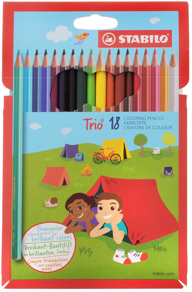 Stabilo Набор цветных карандашей Trio 18 шт1960/18-03Серия цветных карандашей STABILO Trio. Трехгранная форма карандаша предотвращает усталость детской руки при рисовании и позволяет привить ребенку навык правильно держать пишущий инструмент. Карандаши имеют широкую гамму цветов, которые отлично смешиваются и позволяют создавать огромное количество оттенков. Насыщенные цвета имеют высокую светостойкость. В состав грифелей входит пчелиный воск, благодаря чему грифели легко рисуют на бумаге, не царапая ее и не крошась, и обладают повышенной устойчивостью к нагрузкам. Карандаши не ломаются при рисовании и затачивании.
