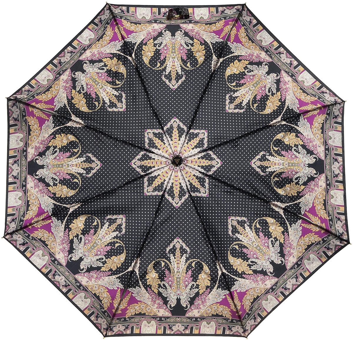 Зонт женский Fabretti, цвет: черный. S-16105-4S-16105-4Женский зонт от итальянского бренда Fabretti. Классический черный цвет в сочетании со стильными винными и золотыми оттенками сделают вас неотразимой в любую непогоду! Яркий и утонченный цветочный принт, напоминающий пейсли, превращает модель в роскошный аксессуар, который придется по вкусу ценителям элегантного стиля. Значительным преимуществом данной модели является система антиветер, которая позволяет выдержать сильные порывы ветра. Материал купола – сатин. Он невероятно изящен, приятен на ощупь, обладает высокой прочностью, а также устойчив к выцветанию. Эргономичная ручка сделана из высококачественного пластика-полиуретана с противоскользящей обработкой.