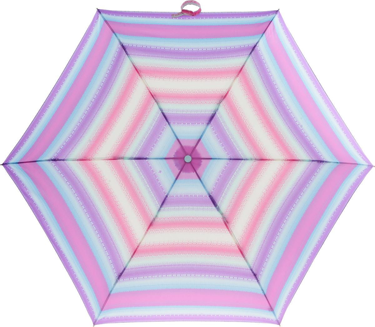 Зонт женский Fulton Superslim, механический, 3 сложения, цвет: мультиколор. L553-2753L553-2753 SunStripeСтильный механический зонт Fulton Superslim в 3 сложения даже в ненастную погоду позволит вам оставаться элегантной. Облегченный каркас зонта выполнен из 6 спиц из фибергласса и алюминия, стержень также изготовлен из алюминия, удобная рукоятка - из пластика. Купол зонта выполнен из прочного полиэстера. В закрытом виде застегивается хлястиком на липучке. Яркий оригинальный рисунок в полоску поднимет настроение в дождливый день. Зонт механического сложения: купол открывается и закрывается вручную до характерного щелчка. На рукоятке для удобства есть небольшой шнурок, позволяющий надеть зонт на руку тогда, когда это будет необходимо. К зонту прилагается чехол, который застегивается на липучку. Чехол оформлен металлическим элементом с названием бренда. Такой зонт компактно располагается в кармане, сумочке, дверке автомобиля.