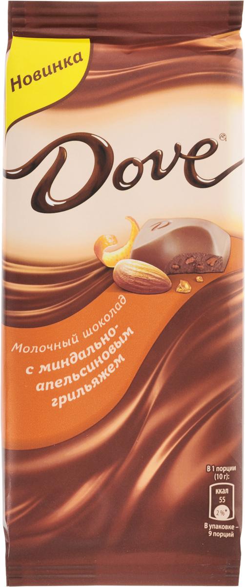 Dove молочный шоколад с миндально-апельсиновым грильяжем, 90 г 79004057