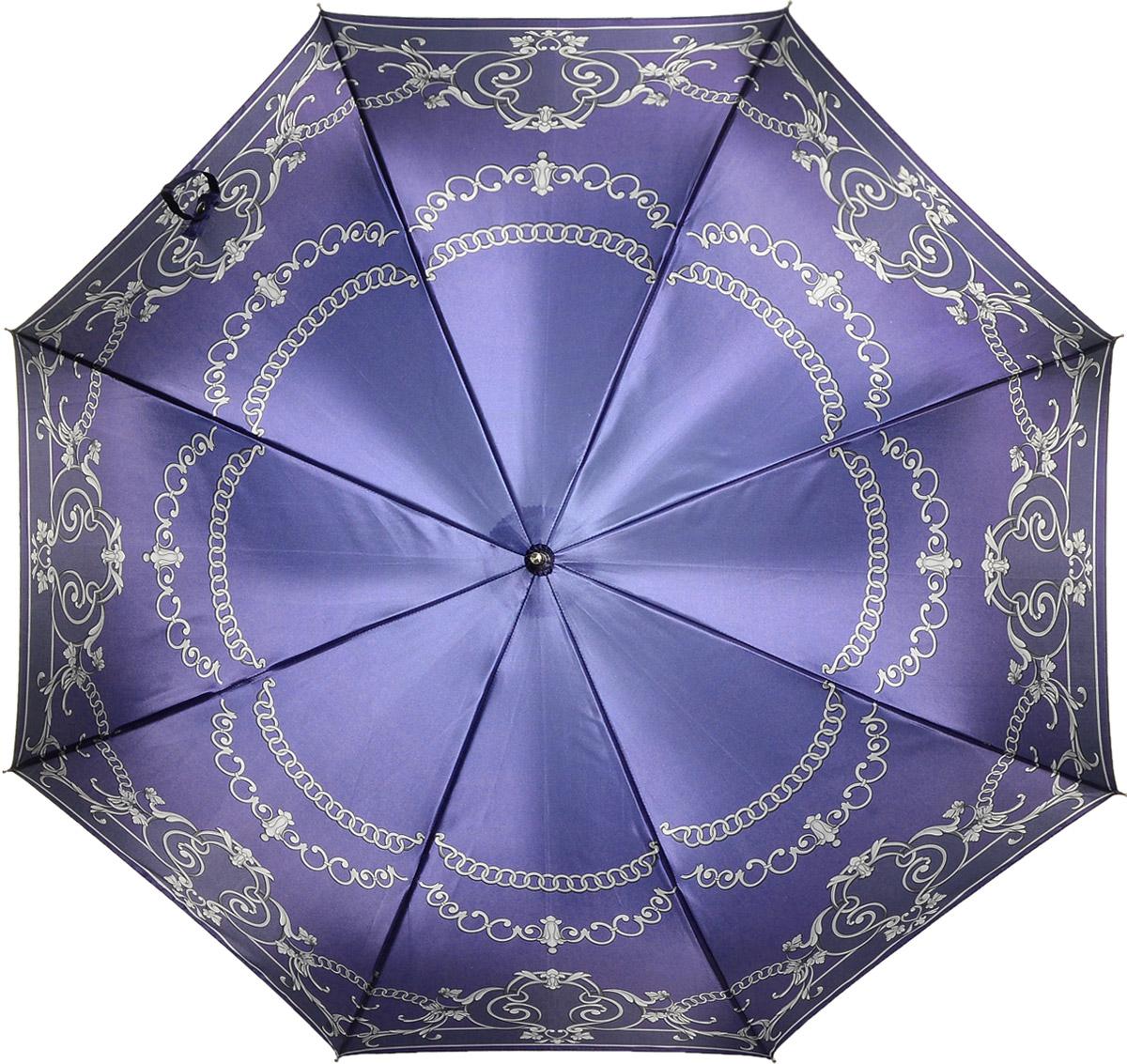 Зонт женский Fabretti, цвет: фиолетовый. 16191619Женский зонт-трость от итальянского бренда Fabretti. Конструкция модели выполнена из стали и фибергласса, поэтому устойчива к сильному ветру. Глубокий и актуальный в этом сезоне насыщенный фиолетовый цвет сделает вас неотразимой в любую непогоду, а изящный принт в виде элегантных цепочек с элементами роскошного стиля барокко дополнит любой современный образ! Материал купола – сатин. Он невероятно изящен, приятен на ощупь, обладает высокой прочностью, а также устойчив к выцветанию. Эргономичная ручка сделана из высококачественного пластика-полиуретана с противоскользящей обработкой!