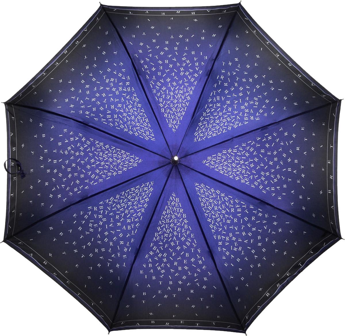 Зонт женский Fabretti, цвет: синий. 16211621Женский зонт-трость от итальянского бренда Fabretti. Конструкция модели выполнена из стали и фибергласса, поэтому устойчива к сильному ветру. Элегантная градация синего цвета сделает вас неотразимыми и невероятно модными в любую непогоду, а стильный дизайнерский принт в виде комбинации букв из логотипа бренда Fabretti дополнит любой современный образ! Материал купола – сатин. Он невероятно изящен, приятен на ощупь, обладает высокой прочностью, а также устойчив к выцветанию. Эргономичная ручка сделана из высококачественного пластика-полиуретана с противоскользящей обработкой!