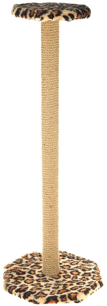 Когтеточка ЗооМарк, с полкой, цвет: леопардовый, высота 102 см101-2_леопардовыйКогтеточка ЗооМарк поможет сохранить мебель и ковры в доме от когтей вашего любимца, стремящегося удовлетворить свою естественную потребность точить когти. Когтеточка изготовлена из дерева, искусственного меха и джута. Товар продуман в мельчайших деталях и, несомненно, понравится вашей кошке. Сверху имеется полка. Всем кошкам необходимо стачивать когти. Когтеточка - один из самых необходимых аксессуаров для кошки. Для приучения к когтеточке можно натереть ее сухой валерьянкой или кошачьей мятой. Когтеточка поможет вашему любимцу стачивать когти и при этом не портить вашу мебель. Размер основания: 35 х 35 см. Высота когтеточки: 102 см. Размер полки: 26 х 26 см.