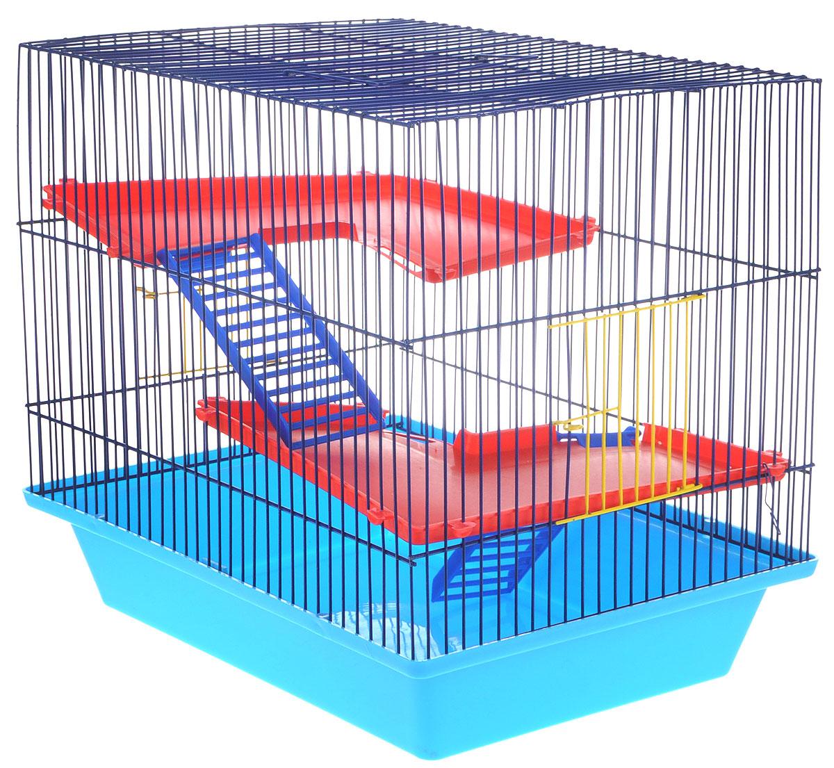 Клетка для грызунов ЗооМарк Гризли, 3-этажная, цвет: синий поддон, синяя решетка, красные этажи, 41 х 30 х 36 см230ССКлетка ЗооМарк Гризли, выполненная из полипропилена и металла, подходит для мелких грызунов. Изделие трехэтажное. Клетка имеет яркий поддон, удобна в использовании и легко чистится. Сверху имеется ручка для переноски. Такая клетка станет уединенным личным пространством и уютным домиком для маленького грызуна.