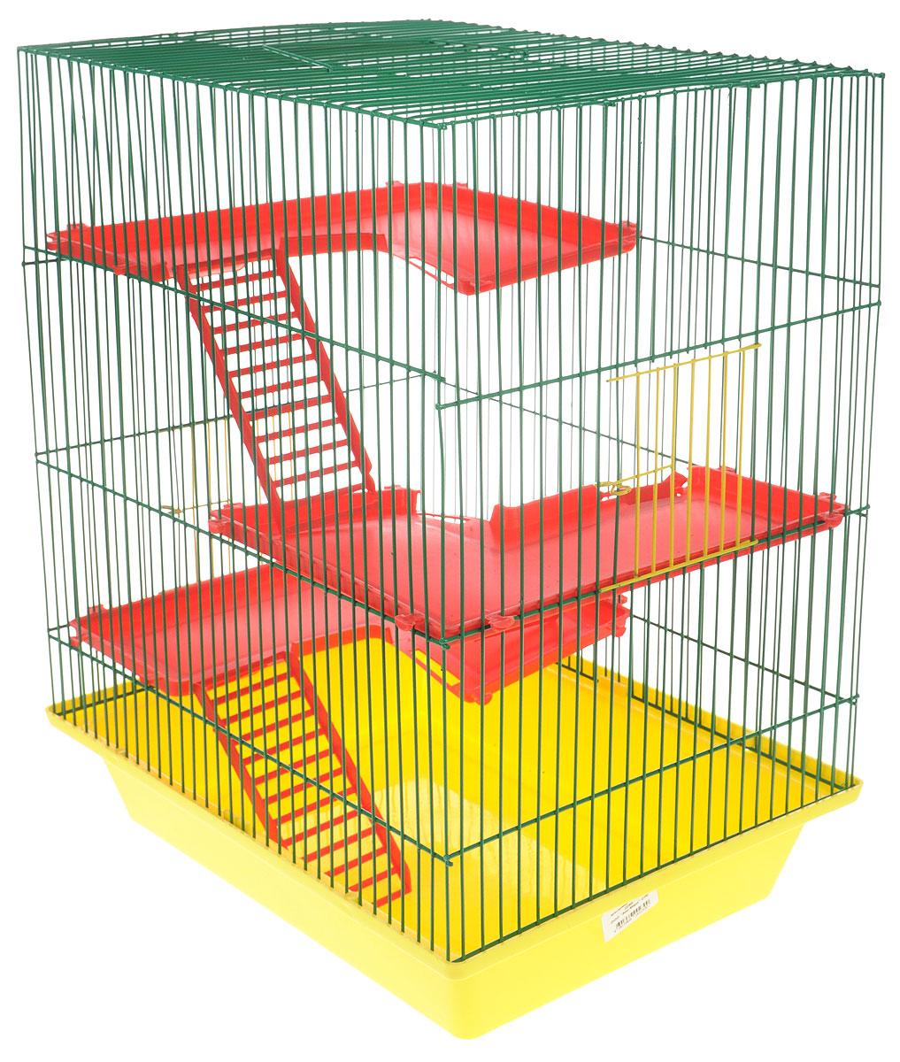 Клетка для грызунов ЗооМарк Гризли, 3-этажная, цвет: желтый поддон, зеленая решетка, красные этажи, 41 х 30 х 36 см230ЖЗКлетка ЗооМарк Гризли, выполненная из полипропилена и металла, подходит для мелких грызунов. Изделие трехэтажное. Клетка имеет яркий поддон, удобна в использовании и легко чистится. Сверху имеется ручка для переноски. Такая клетка станет уединенным личным пространством и уютным домиком для маленького грызуна.