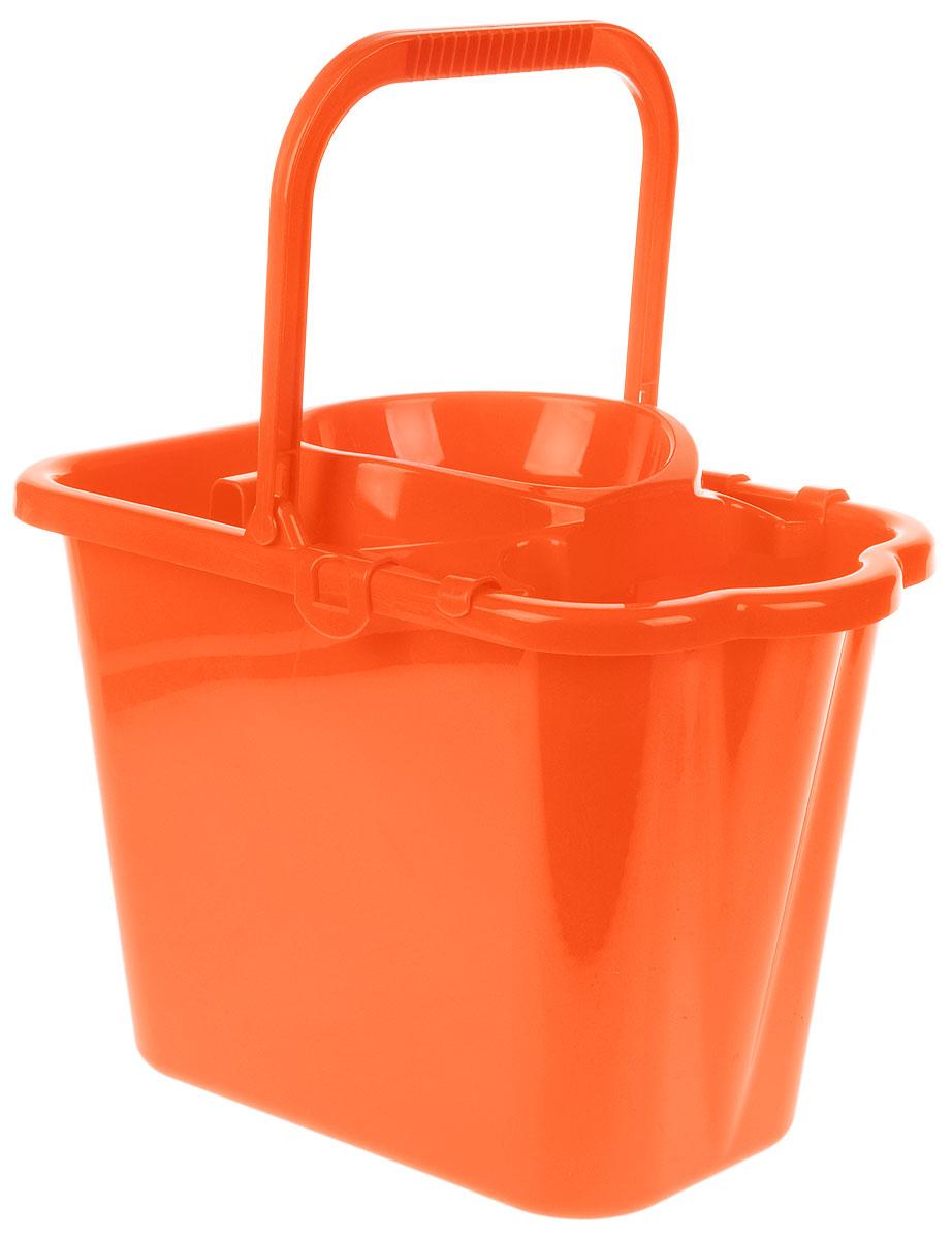 Ведро хозяйственное Idea, прямоугольное, с отжимом, цвет: оранжевый, 9,5 лМ 2421Прямоугольное ведро Idea изготовлено из прочного пластика. Изделие порадует практичных хозяек. Ведро снабжено специальной насадкой с технологией Power Press, которая обеспечивает интенсивный отжим ленточных швабр. Это значительно уменьшает физические нагрузки при мытье полов. Насадка надежно крепится на ведро и также легко снимается, позволяя хранить ее отдельно. Для удобного использования ведро имеет пластиковую ручку и носик для выливания воды. Размер ведра (по верхнему краю): 36 х 21,5 см. Высота стенки: 24 см.