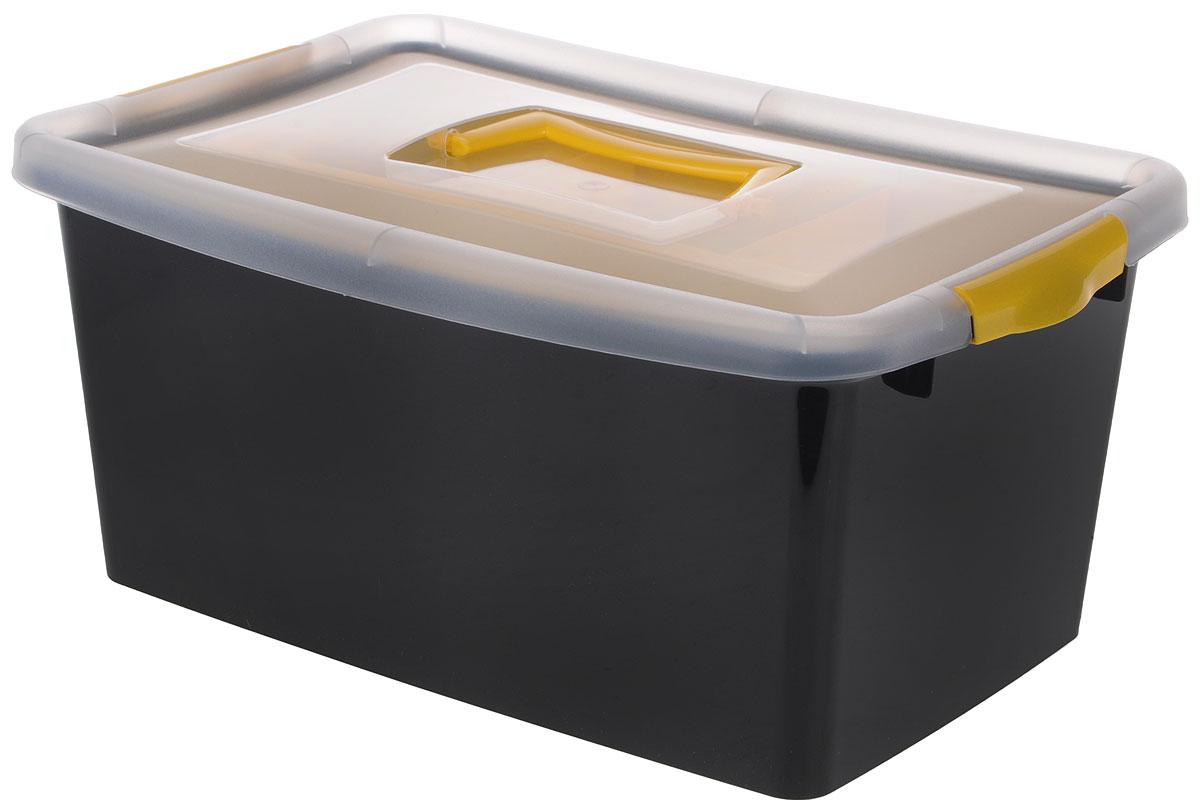 Контейнер для хранения Idea, с вкладышем, цвет: черный, прозрачный, желтый, 9 лМ 2874_черныйКонтейнер для хранения Idea выполнен из высококачественного полипропилена. Изделие оснащено двумя пластиковыми фиксаторами по бокам, придающими дополнительную надежность закрывания крышки. Вместительный контейнер позволит сохранить различные нужные вещи в порядке, а герметичная крышка предотвратит случайное открывание, защитит содержимое от пыли и грязи. Внутри имеется съемный вкладыш с одним большим отделением и тремя поменьше. Объем: 9 л. Размер контейнера (с учетом крышки): 36,8 х 24,3 х 17 см.