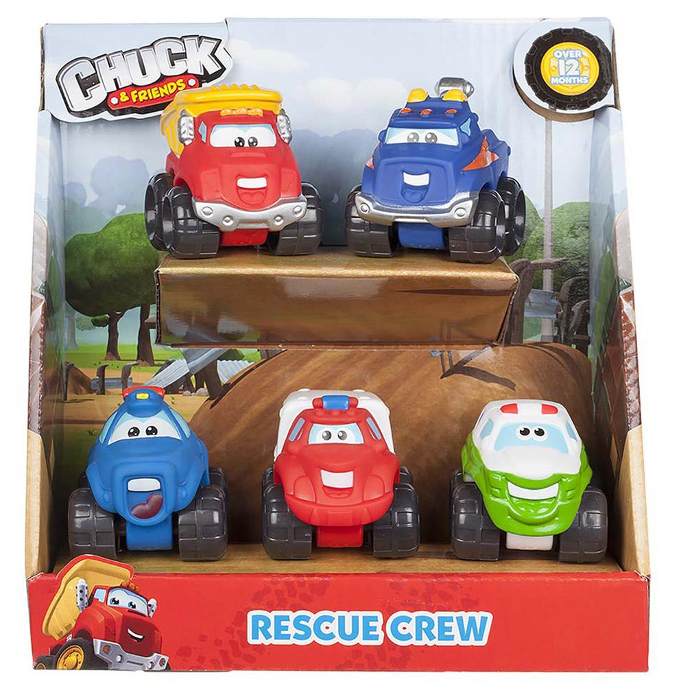 Chuck & Friends Набор машинок Rescue Crew 5 шт92745Набор из пяти пластиковых машинок CHUCK & FRIENDS в единой упаковке, высота машинки - 5 см.