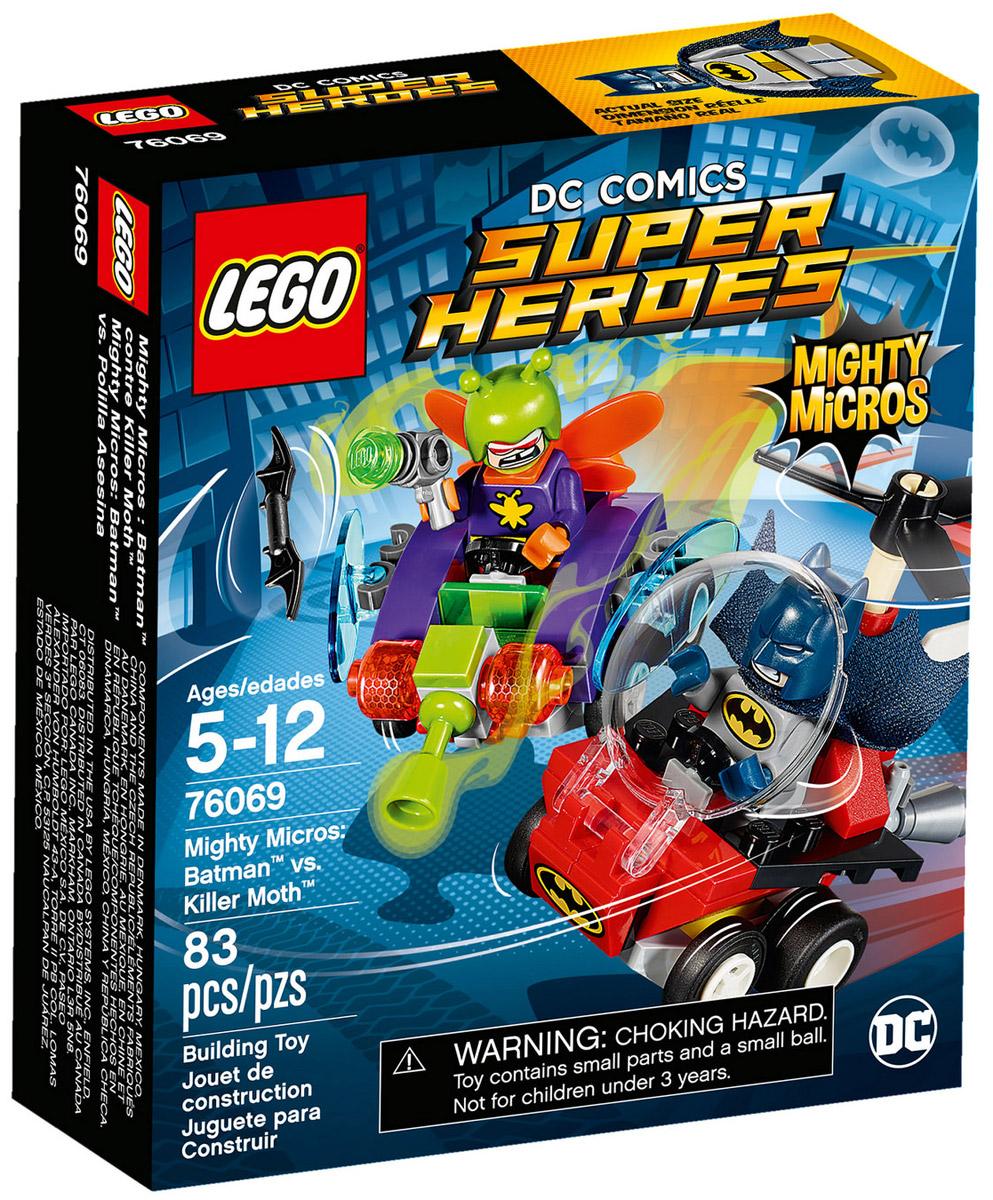 LEGO Super Heroes Конструктор Mighty Micros Бэтмен против Мотылька-убийцы 7606976069Стремительно несись на Бэткоптере, чтобы сбить Мотылька-убийцу! Запусти Бэтаранг Бэтмена, прицелившись в крылья летающего жука, и одержи верх над суперзлодеем! Но будь осторожен, опасайся ружья, стреляющего паутиной! Одержит ли Тёмный Рыцарь победу? Исход этой захватывающей супергеройской битвы зависит от тебя!