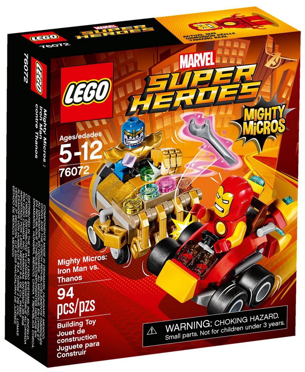 LEGO Super Heroes Конструктор Mighty Micros Железный человек против Таноса 7607276072Направь супер-скоростной автомобиль Железного человека с ракетным двигателем в сторону Таноса, и разорви его машину на две части клешнёй-тисками! Срази Таноса, прежде чем он успеет воспользоваться супер-силой своей Перчатки неуязвимости и станет победителем в этом поединке.