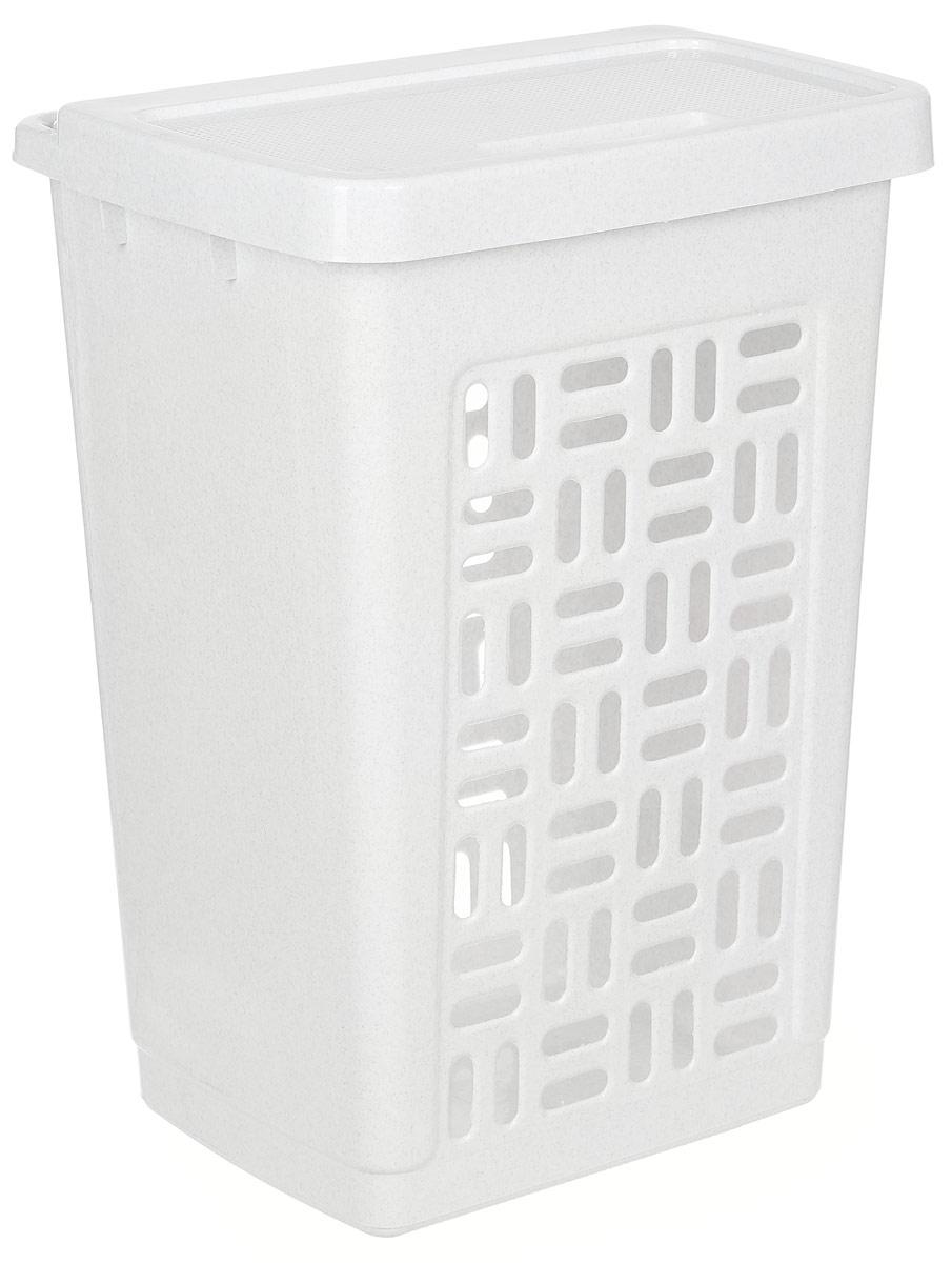 Корзина для белья Idea, цвет: мраморный, 60 лМ 2610Вместительная корзина для белья Idea изготовлена из прочного пластика. Она отлично подойдет для хранения белья перед стиркой. Специальные отверстия на стенках создают идеальные условия для проветривания. Изделие оснащено крышкой. Такая корзина для белья прекрасно впишется в интерьер ванной комнаты. Размер корзины: 44 х 35 х 59 см.