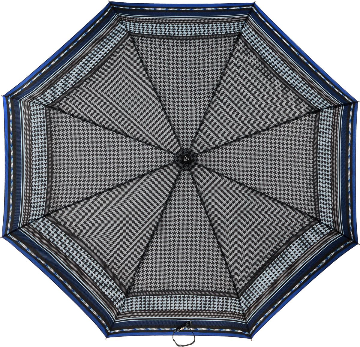 Зонт женский Fabretti, цвет: синий. L-16108-3L-16108-3Женский зонт от итальянского бренда Fabretti. Насыщенный и модный темно-синий оттенок в сочетании с черным цветом сделает вас неотразимыми в любую непогоду! Яркий дизайнерский принт в виде элегантных графических линий и утонченного рисунка гусиная лапка добавит изюминку и нотки изысканности к любому образу. Значительным преимуществом данной модели является система антиветер, которая позволяет выдержать сильные порывы ветра. Материал купола - эпонж, обладает высокой прочностью и износостойкостью. Вода на куполе из такого материала скатывается каплями вниз, а не впитывается, на нем практически не видны следы изгибов. Эргономичная ручка сделана из высококачественного пластика-полиуретана с противоскользящей обработкой.