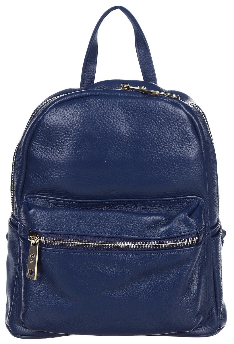 Рюкзак женский Labbra, цвет: темно-синий. L-85028L-85028Стильный женский рюкзак Labbra выполнен из натуральной кожи с зернистой фактурой. Рюкзак имеет одно основное отделение, которое закрывается на застежку-молнию. Внутри находятся прорезной карман на застежке-молнии и накладной открытый карман. Снаружи, на передней стенке находится накладной объемный карман на застежке-молнии, по бокам - накладные открытые карманы. Рюкзак оснащен лямками регулируемой длины и ручкой для переноски в руке.