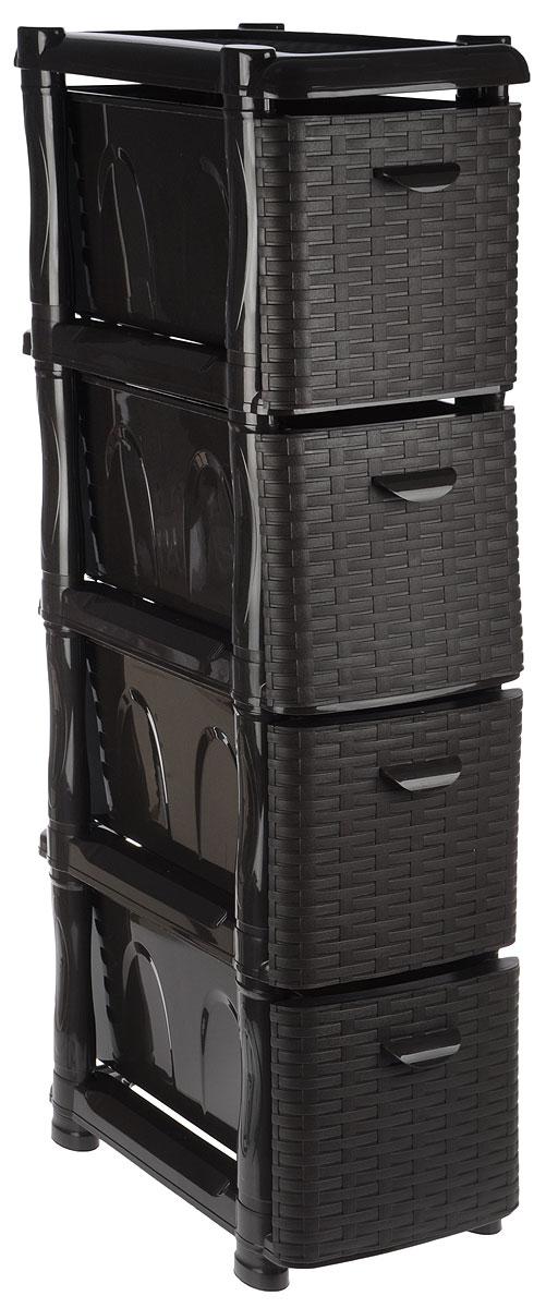 Комод Idea Ротанг, цвет: темно-коричневый, 46 х 26 х 104 смМ 2814Комод Idea Ротанг изготовлен из высококачественного пластика. Ящики оформлены плетеными элементами. Комод предназначен для хранения различных вещей и состоит из четырех вместительных выдвижных секций. Такой необычный и яркий комод надежно защитит вещи от загрязнений, пыли и моли, а также позволит вам хранить их компактно и с удобством. Размер комода: 46 х 26 х 104 см. Размер ящика: 46 х 20 х 20 см.