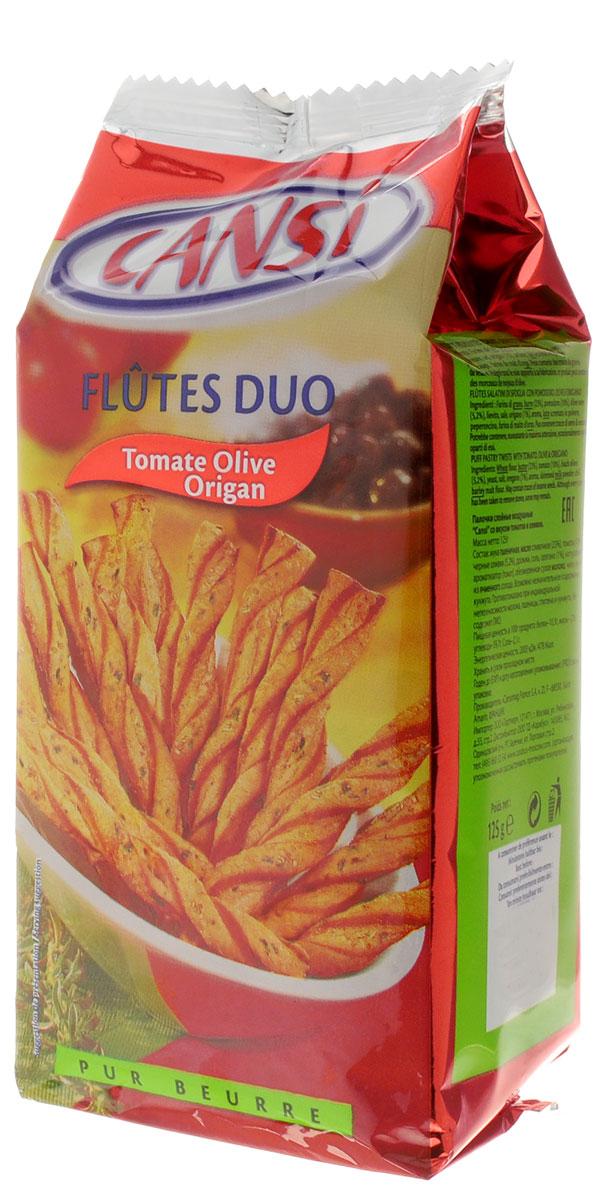 Cansi Палочки слоеные воздушные со вкусом томатов и оливок, 125 г