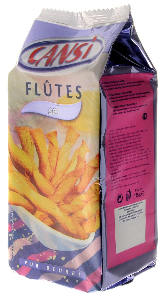 Cansi Палочки слоеные воздушные с солью, 125 г3.5.05.Очень быстрый, вкусный перекус или, если хотите - закуска. Можно похрустеть, просматривая любимый фильм в кругу семьи, а можно купить для дружеской пивной посиделки. Продукт изготовлен по французской технологии из пшеничной муки. Палочки Cansi рекомендуется употреблять в качестве десерта, закуски или в сочетании с кофе или чаем, а также как дополнение к супам. Не содержит ГМИ. Уважаемые клиенты! Обращаем ваше внимание, что полный перечень состава продукта представлен на дополнительном изображении.