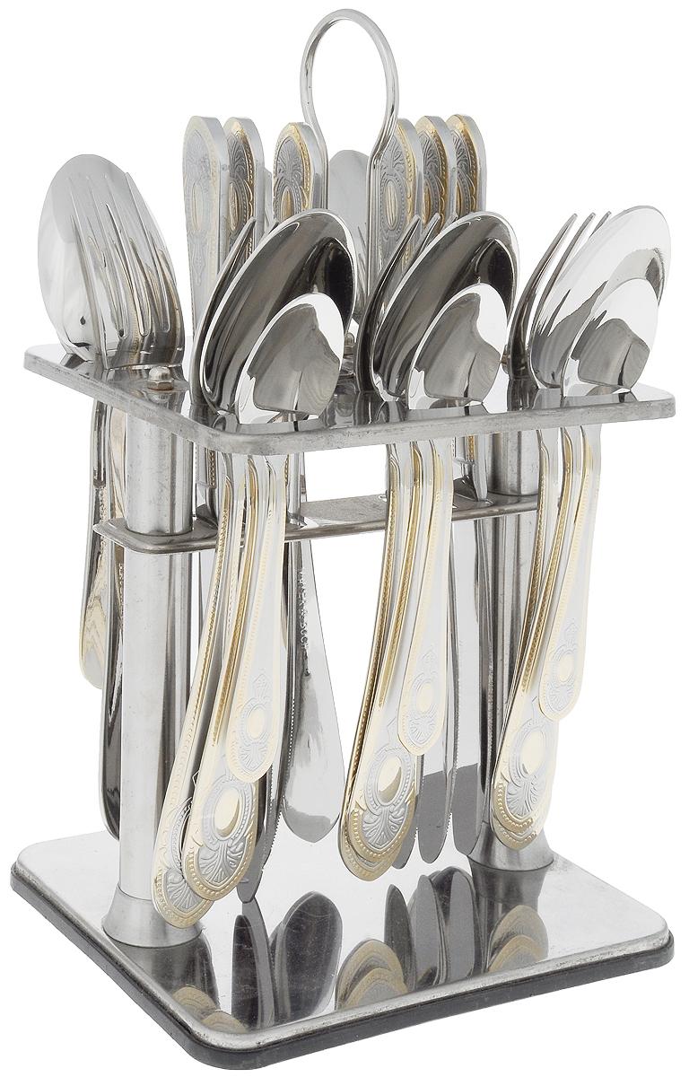 Набор столовых приборов Mayer & Boch, на подставке, 25 предметов. 2310623106В набор Mayer & Boch входят 25 предметов: 6 столовых ножей, 6 столовых ложек, 6 столовых вилок, 6 чайных ложек и подставка, выполненные из высококачественной нержавеющей стали. Прекрасное сочетание яркого дизайна и удобство использования предметов набора придется по душе каждому. Набор столовых приборов Mayer & Boch подойдет для сервировки стола как дома, так и на даче, а также станет замечательным подарком. Длина столовой ложки/вилки: 20,5 см. Длина чайной ложки: 14 см. Длина ножа: 23 см. Размер подставки: 15,5 х 13 х 28 см.