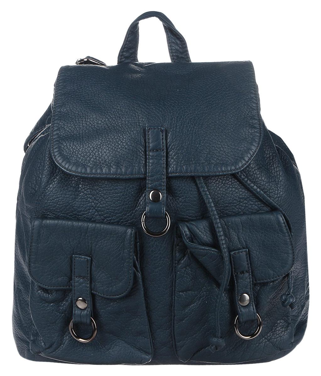 Рюкзак женский OrsOro, цвет: синий. D-254/2D-254/2Стильный рюкзак OrsOro, выполнен из экокожи и оснащен двумя плечевыми регулируемыми ремнями на спинке и удобной ручкой для переноски. Изделие закрывается клапаном на кнопку, внутри имеет одно вместительное отделение с одним накладным карманом для телефона и мелочей и одним прорезным карманом на застежке-молнии. С тыльной стороны изделия имеется прорезной карман на застежке-молнии. Рюкзак оснащен также передними накладными карманами, которые закрываются с помощью небольших клапанов на кнопки. Сумка-рюкзак OrsOro - это выбор молодой, уверенной, стильной женщины, которая ценит качество и комфорт. Изделие станет изысканным дополнением к вашему образу.