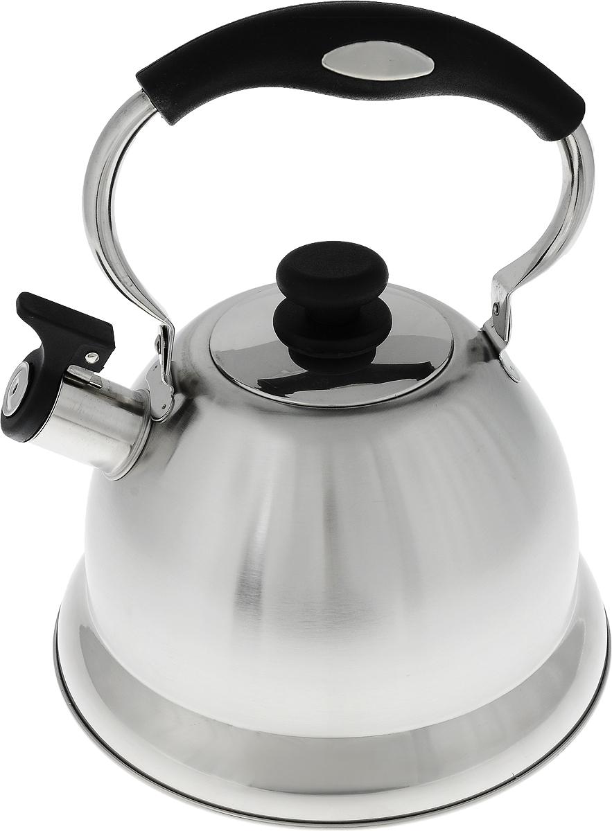 Чайник Termico, со свистком, цвет: серебристый, черный, 2,7 л220409Чайник Termico выполнен из высококачественной нержавеющей стали, что обеспечивает долговечность использования. Внешнее зеркальное покрытие придает изделию изысканный вид. Эргономичная пластиковая ручка делает использование чайника очень удобным и безопасным. Чайник снабжен откидным свистком, который подскажет, когда закипела вода. Не рекомендуется мыть в посудомоечной машине. Пригоден для всех видов плит, кроме индукционных. Высота чайника (без учета крышки и ручки): 14,5 см. Диаметр отверстия: 8,5 см.