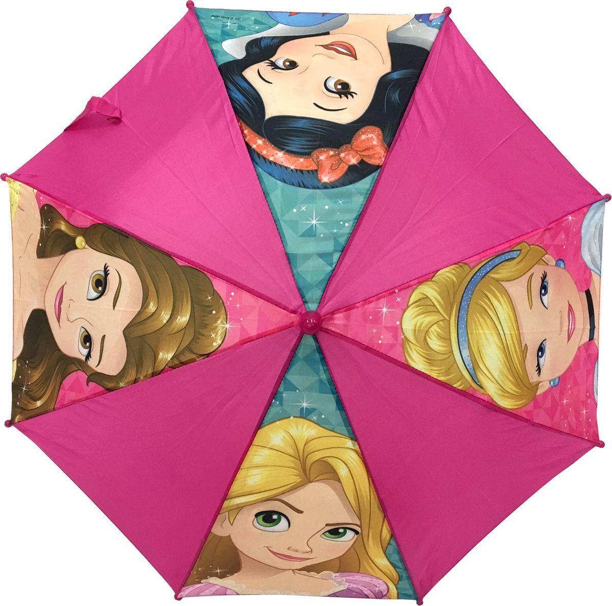 Зонт для девочки Disney Princess, цвет: розовый. 34793479Компактный детский зонтик-трость станет замечательным подарком для Вашего чада и защитит его не только от дождя, но и от солнца. Красочный дизайн зонтика поднимет настроение и станет незаменимым атрибутом прогулки. Ребенок сможет сам открывать и закрывать зонтик, благодаря легкому механизму, а оригинальная расцветка зонтика привлечет к себе внимание. Тип механизма: механический (открывается/закрывается вручную). Конструкция зонта: зонт-трость. Материал: пластик, полиэстер, металл.