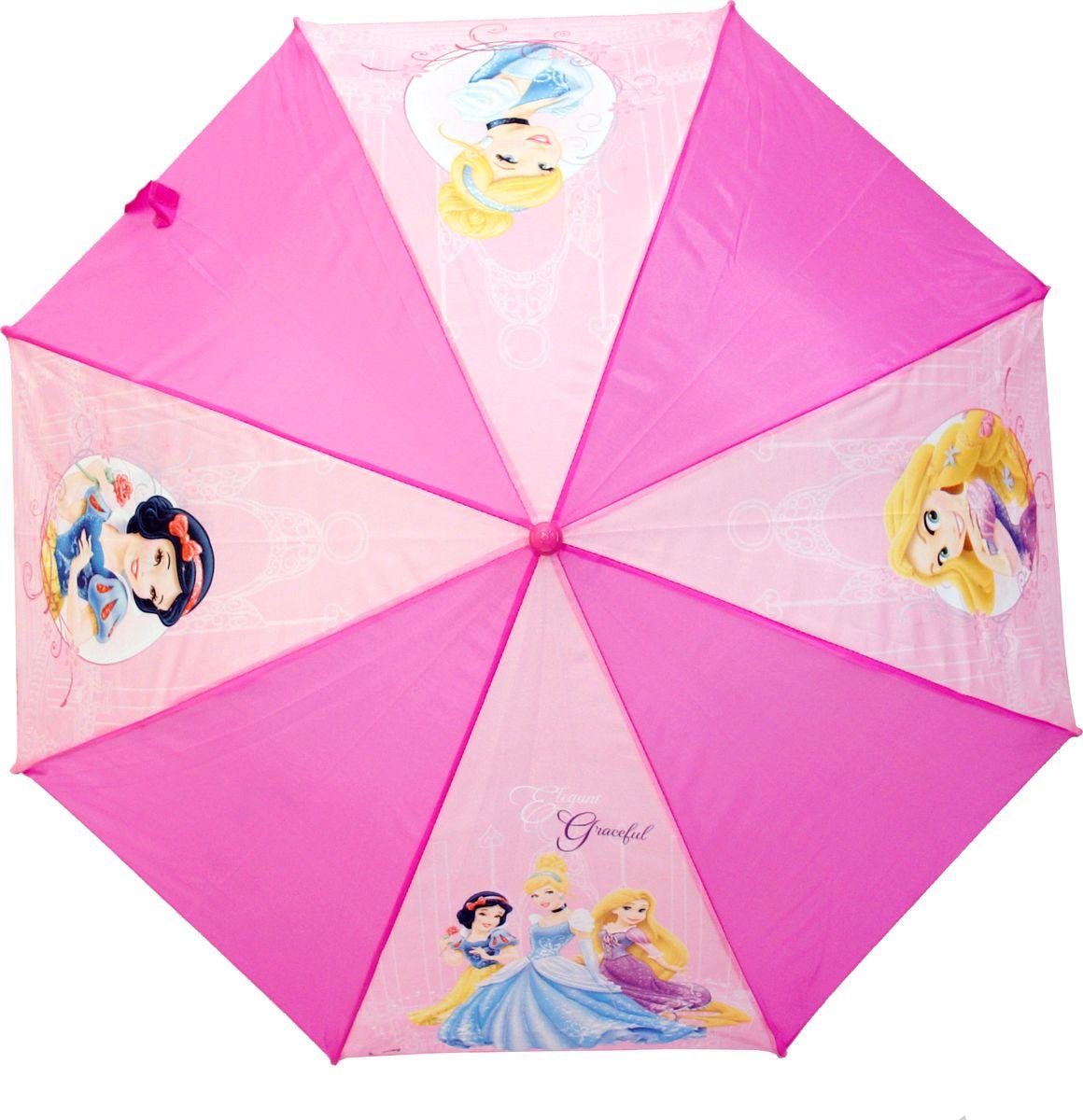 Зонт для девочки Disney Princess, цвет: розовый. 34443444_розовыйКомпактный детский зонтик-трость станет замечательным подарком для Вашего чада и защитит его не только от дождя, но и от солнца. Красочный дизайн зонтика поднимет настроение и станет незаменимым атрибутом прогулки. Ребенок сможет сам открывать и закрывать зонтик, благодаря легкому механизму, а оригинальная расцветка зонтика привлечет к себе внимание. Тип механизма: автоматический (открывается автом/закрывается вручную). Конструкция зонта: зонт-трость. Материал: пластик, полиэстер, металл.