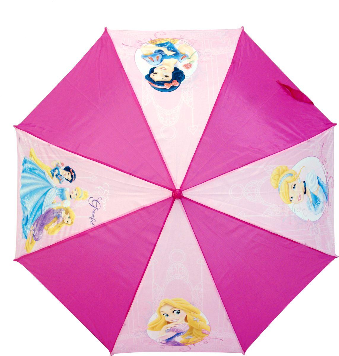 Зонт для девочки Disney Princess, цвет: фиолетовый. 34443444_фиолетовыйКомпактный детский зонтик-трость станет замечательным подарком для Вашего чада и защитит его не только от дождя, но и от солнца. Красочный дизайн зонтика поднимет настроение и станет незаменимым атрибутом прогулки. Ребенок сможет сам открывать и закрывать зонтик, благодаря легкому механизму, а оригинальная расцветка зонтика привлечет к себе внимание. Тип механизма: автоматический (открывается автом/закрывается вручную). Конструкция зонта: зонт-трость. Материал: пластик, полиэстер, металл.
