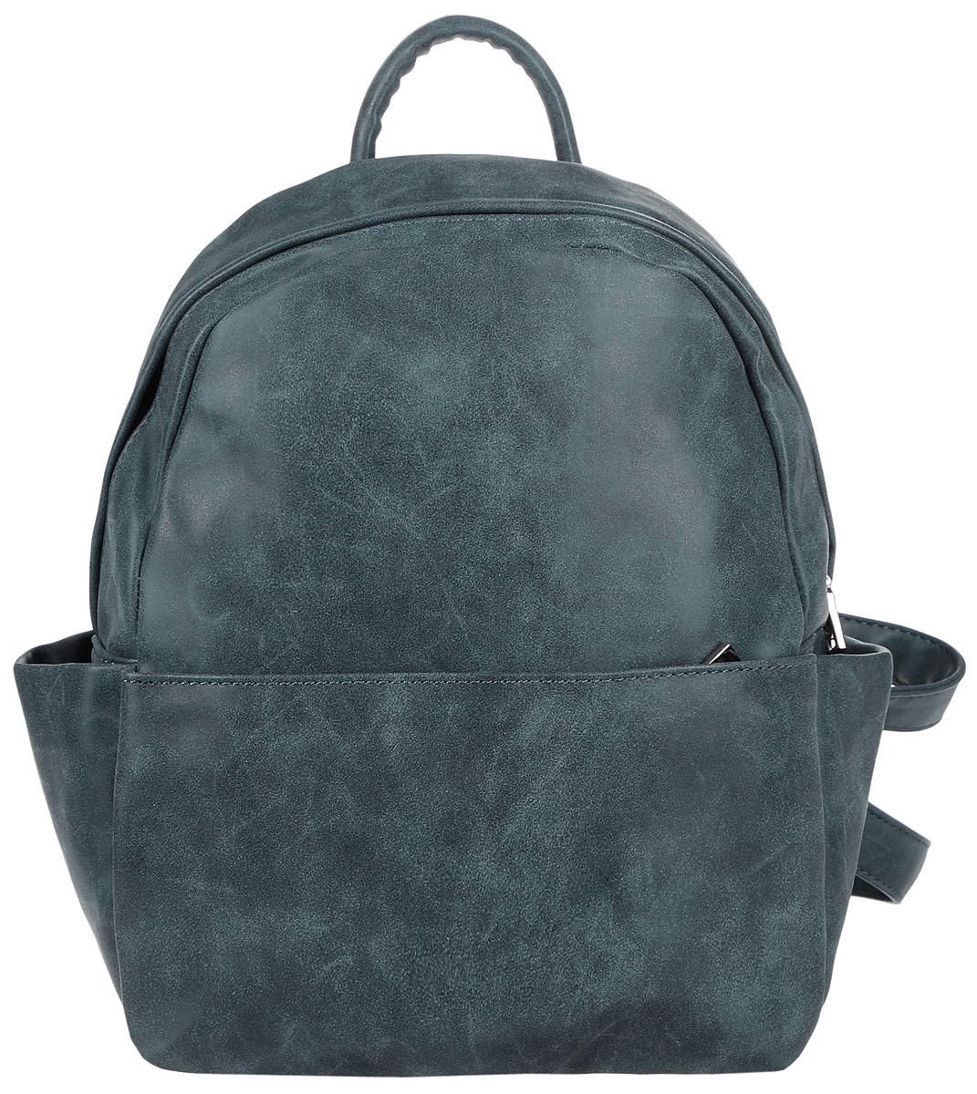 Рюкзак женский Orsa Oro, цвет: темно-бирюзовый. D-181/29D-181/29Стильный женский рюкзак Orsa Oro выполнен из экокожи. Рюкзак имеет одно основное отделение, которое закрывается на застежку-молнию. Внутри находятся прорезной карман на застежке-молнии и три накладных открытых кармана. Снаружи, на передней стенке находится нашивной карман на застежке-молнии, по бокам - накладные открытые карманы, на задней стенке - прорезной карман на застежке-молнии. Рюкзак оснащен лямками регулируемой длины и ручкой для переноски в руке.